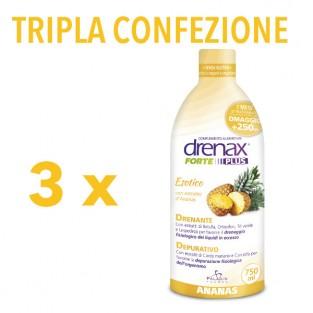 Tripla Confezione di Drenax Forte Plus Esotico gusto Ananas