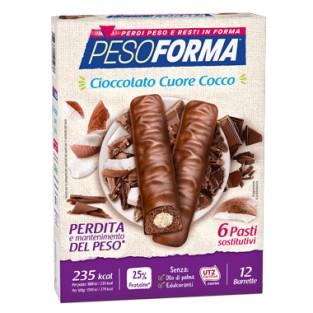Barrette al Cioccolato Cuore di Cocco Pesoforma - 6 pasti